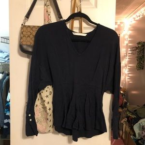 zara navy blue blouse